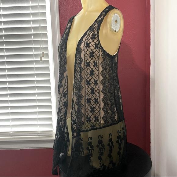 Cream and black lace cardigan vest